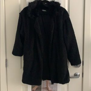 Sherpa and faux fur coat